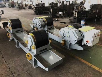 Color Grey 60 Ton Bolt Adjustment Pipe Welding Rollers , Oil Tank PU Wheel Tank Turning Rolls
