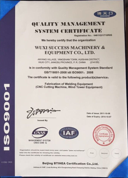 China WELDSUCCESS AUTOMATION EQUIPMENT (WUXI) CO., LTD Certification